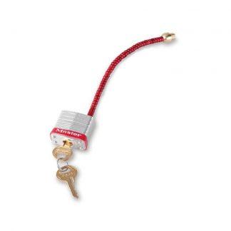 Stål hengelås m/fleksibel bøyle : 107C5RED : Bsafe Systems AS
