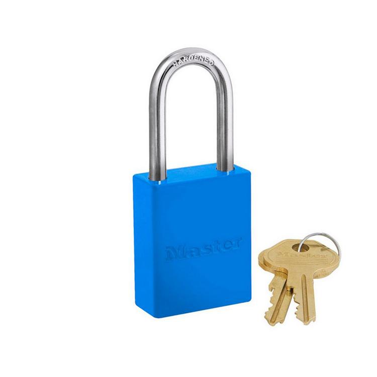 Lockout/tagout : aluminium hengelås blå 106835LFBLU : BSafe Systems AS