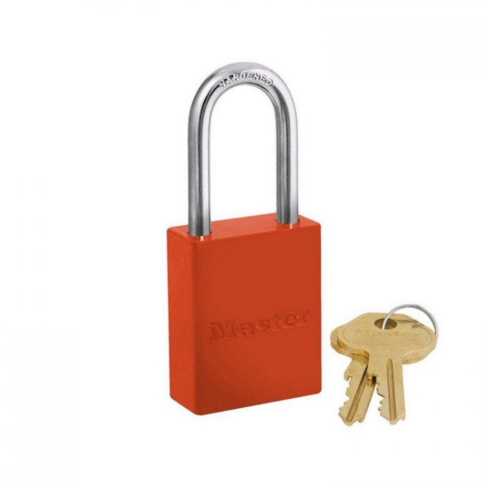 Lockout/tagout : aluminium hengelås oransje 106835LFORJ : BSafe Systems AS