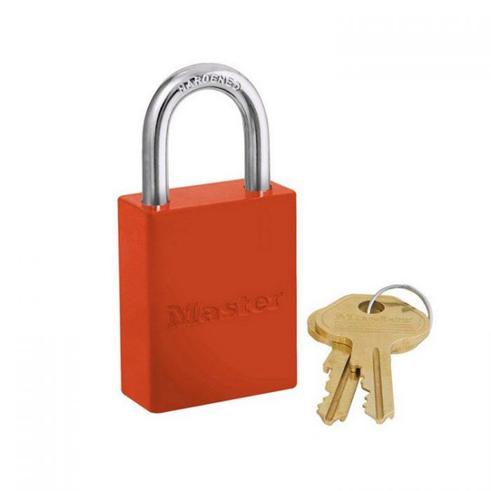 Lockout/tagout : aluminium hengelås oransje 106835ORJ : Bsafe Systems AS