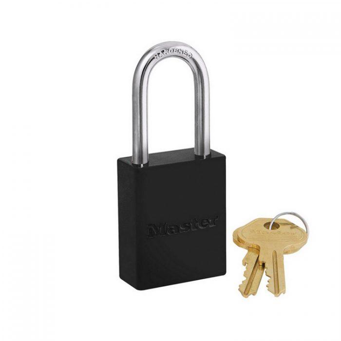 Lockout/tagout : aluminium hengelås sort 106835LFBLK : BSafe Systems AS