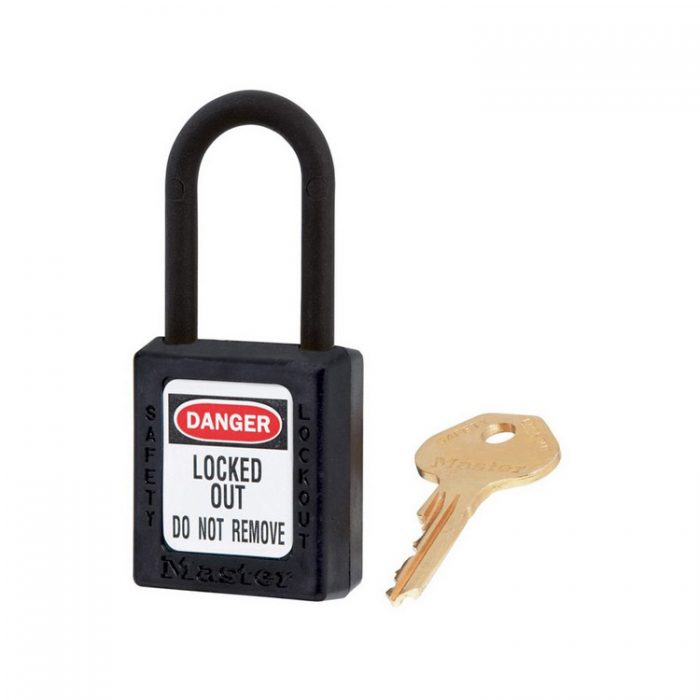 Lockout/tagout : hengelås sort ikke ledende 10406BLK : BSafe Systems AS
