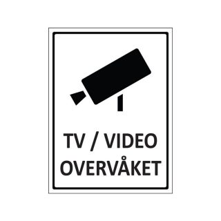 Skilt tv/video overvåket : 450080 : BSafe Systems AS