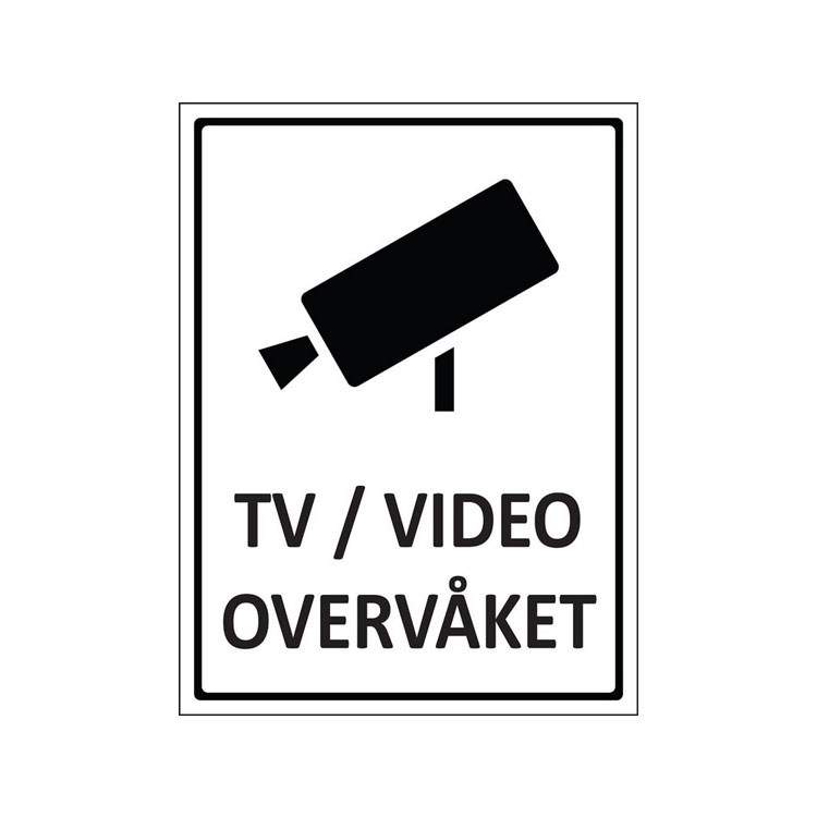 Skilt tv/video overvåket : 450080 : BSafe Systems AS