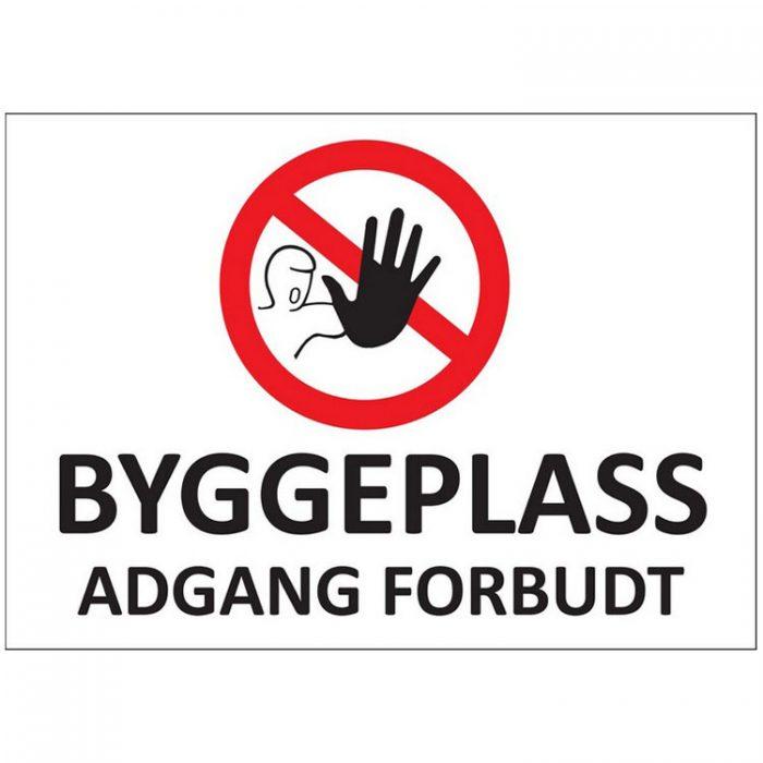 Skilt byggeplass adgang forbudt : 450398 : BSafe Systems AS