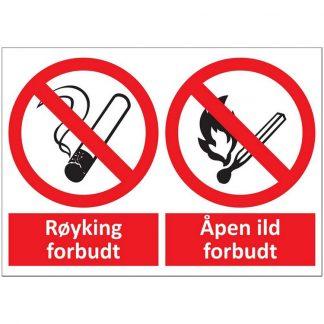 Skilt forbud mot røyking og åpen ild : 450396 : BSafe Systems AS
