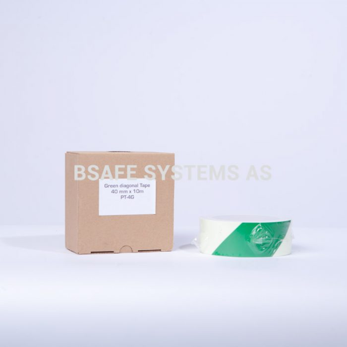 Merking : etterlysende tape grønn diagonale striper 460502 : Bsafe Systems AS