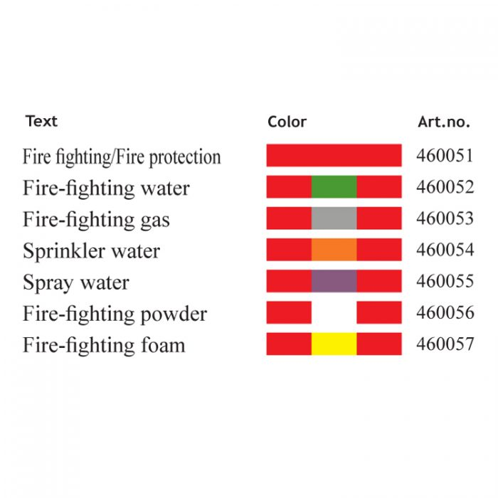 Merking : pipemarking ISO14726 Fire fighting protection : Bsafe Systems AS