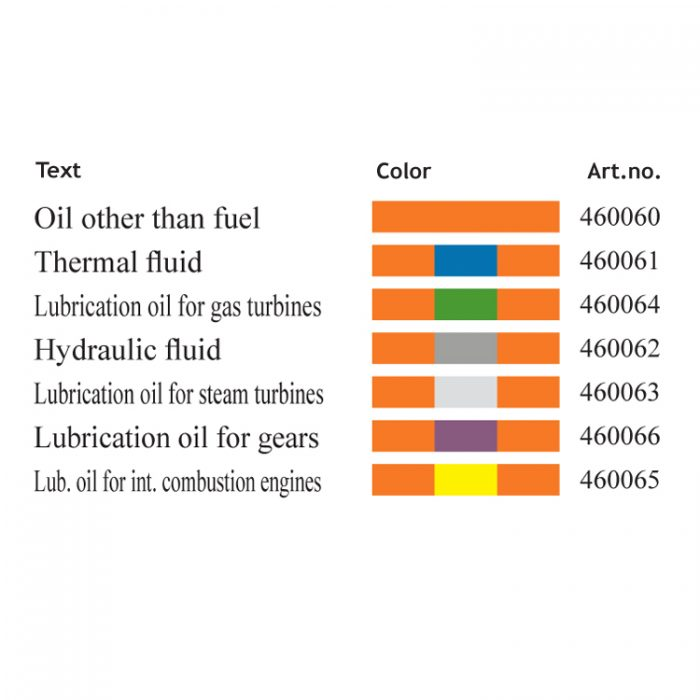 Merking : pipemarking ISO14726 Oil other than fuel : Bsafe Systems AS