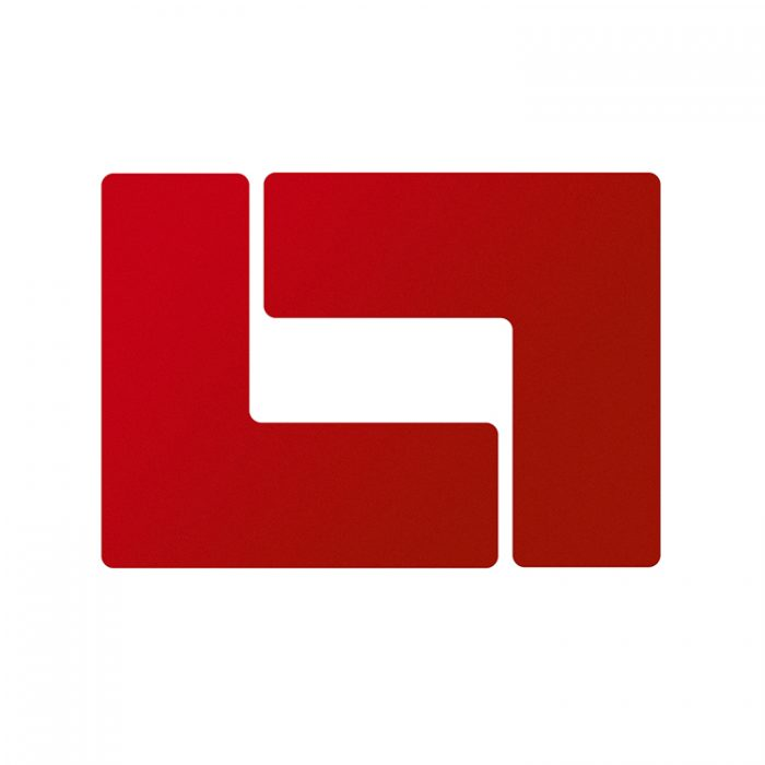 Gulvmerking : Toughstripe hjørnemerke L rød 104442 : Bsafe Systems AS